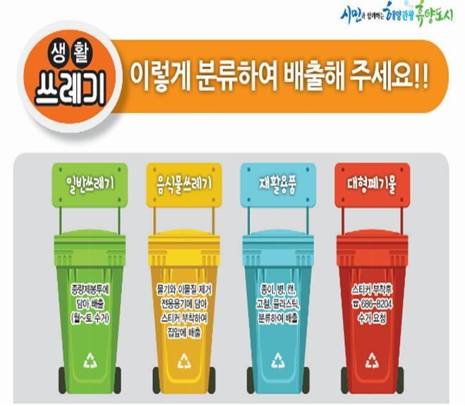 생활쓰레기 이렇게 분류하여 배출해 주세요!